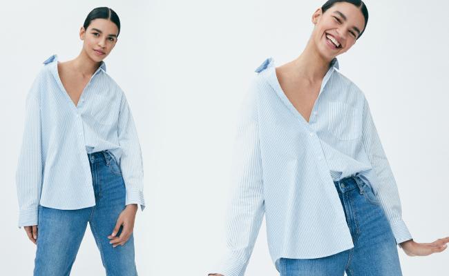 Sự hòa hợp giữa áo sơ mi và quần jeans tạo nên làn gió mới mẻ cho các cô nàng yêu thích phong cách thanh lịch.