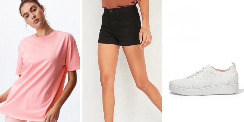 Outfit phối đồ với áo thun phom rộng style giấu quần