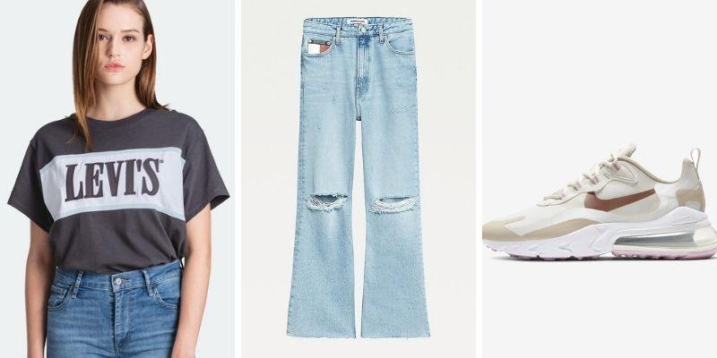 Outfit áo thun phom rộng cùng quần baggy jeans theo phong cách retro