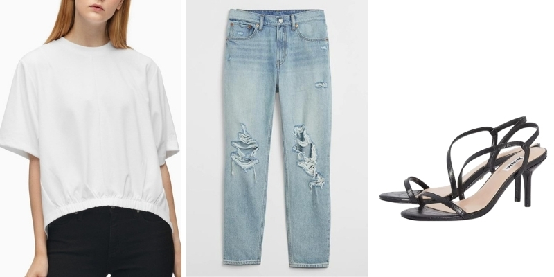 Ý tưởng phối đồ: Áo thun oversize, quần jeans và giày cao gót