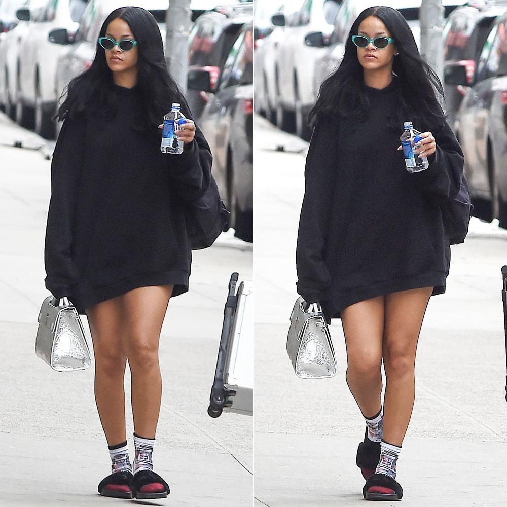 """""""Bỏ túi"""" ngay các Diện hoodie phong cách giấu quần sành điệu như Rihanna"""