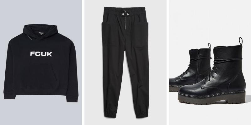 Set đồ all-black với áo hoodie